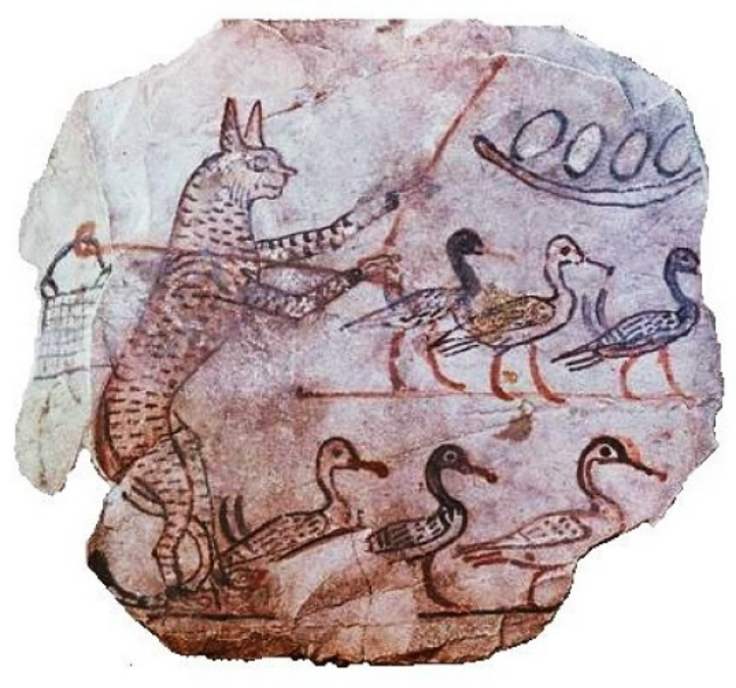 Cats are smart - seen here herding geese in Ancient Egypt